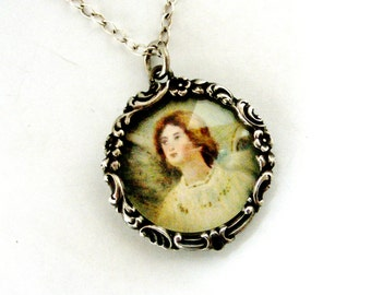 Art nouveau French picture frame angel locket and chain