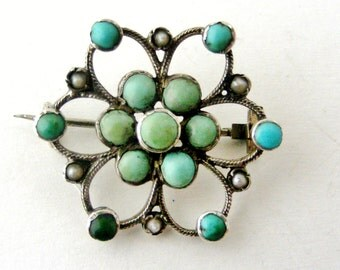 Antique Victorian turquoise and seed pearl silver brooch