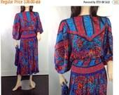 RESERVED 40%off SPRING SALE Vintage 80s Dress I Magnin Dress Susan Freis Dress Vintage Mixed Print Dress  Midi Tea Dress Accordian Pleat