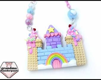 Pastel Ice Cream Cloud Castle Necklace, Princess, Hime, Hime-Kei, Fairy-Kei, Original Design