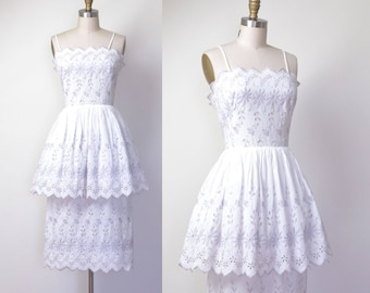 1950s Embroidered Sundress / 50s White Cotton Eyelet Peplum Dress