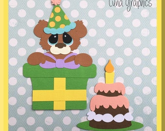 PRESENT BEAR & CAKE Embellishments Paper Piecing card making and scrapbooking