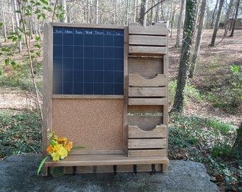 Command Center---Chalkboard Calendar--Farm House--Family message Center--Mail Organizer--Cork Board