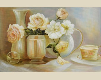 ORIGINAL Oil Painting Tea Time 36 x 23 Brush Flowers Vase Tea Roses Pale English  ART by Marchella