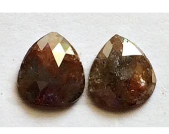 ON SALE 55% Matched Pair, Rose Cut Diamond, Natural Diamond, Rough Diamond, Raw Diamond, Faceted Cabochon, Red Brown Diamond, 7.5mm Each