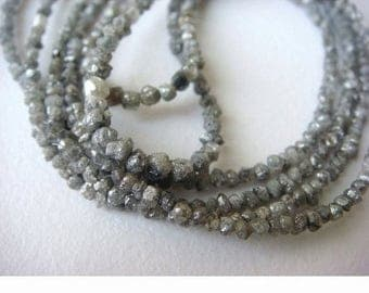 ON SALE 55% Grey Raw Diamonds, Conflict Free Diamond, Grey Rough Diamonds, Natural Grey Rondelle Diamonds, 3mm To 4mm Beads, 16 Inch Strand