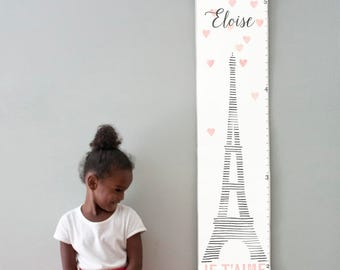 Custom/ Personalized eiffel tower canvas growth chart - perfect for baby girl's nursery or big girl room