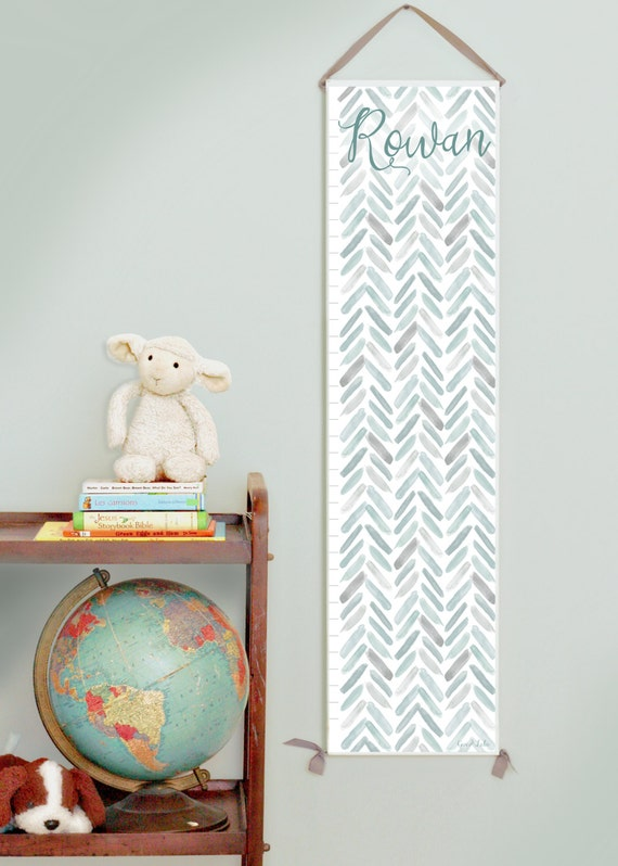 Custom/ Personalized Gray Watercolor Chevron Growth Chart - Perfect for baby girl nursery or big girl room