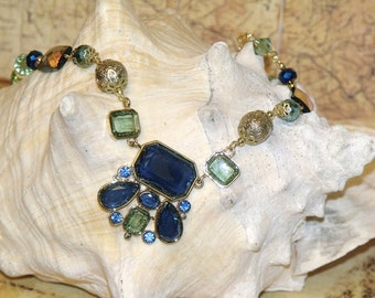 Blue and Green Faceted Glass Cabochon Mixed Bead Bib Necklace bohemian boho hippie chic indie art statement jewelry