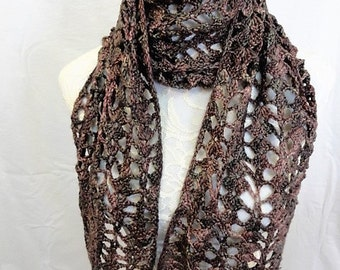 chocolate, green with a touch of mauve and tan merino cashmere hand dyed lacy scarf