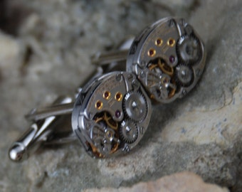 25% off SALE see welcome page for details Beautiful Pair of 17 Jewels Steampunk Longines Watch Movement Cuff links CL 45