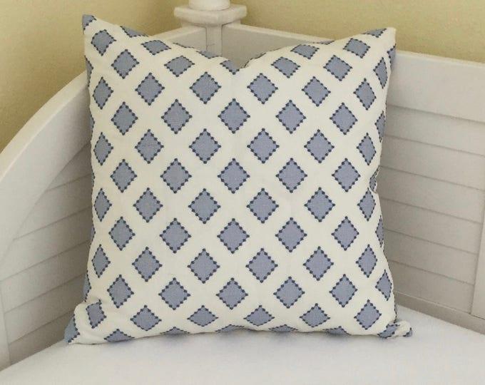 Kravet Diamondots in Indigo  Designer Pillow Cover - Square  and  Euro Sizes