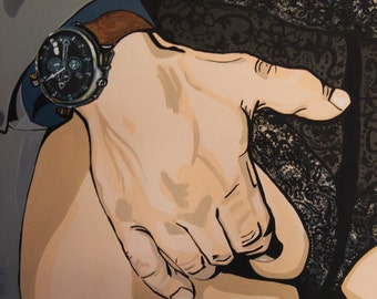 """16x16 Canvas painting Print Titled """"Watch It!"""" by artist Jamie Kuchon"""