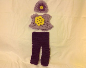 Doll clothes hat with flower accent pants and sweater American girl sized clothing