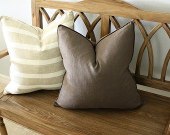 Free shipping, Solid Brown Linen Pillow Cover, Designer, Decorative, Square 20 inch, 20x20