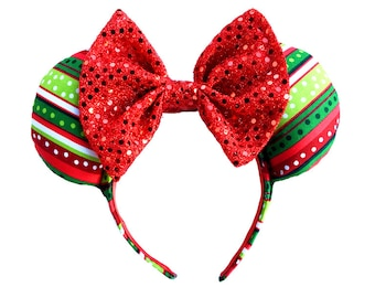 Red Green Striped Christmas Mickey Mouse Ears Minnie Mouse Ears Mickey Ears Holiday Ears