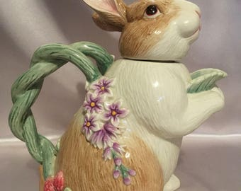 Ceramic Botanical Bunny Tea Pot with Lid, Fitz and Floyd, 4 Cup, Gift Idea, Gift 4 Her, Rabbit Tea Pot, Vintage Collectible, Decorative