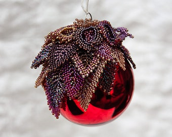 Red Holiday Ornament with Beadwork Purple Leaves