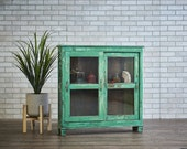 Sideboard Bar Cabinet Turquoise Green Reclaimed Wood Indian Kitchen Cabinet Bathroom Cabinet Curio Boho Furniture Moroccan Decor Buffet