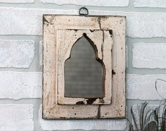 Small Mirror Moroccan Mirror Accent Mirror Vintage Wood Mirror Wall Art Distressed Slightly Pink Mirror Moroccan Decor Turkish Interior