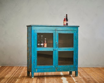 Bar Cabinet Reclaimed Blue Media Cabinet Indian Furniture Bathroom Cabinet Entryway Curio Boho Furniture Industrial Loft Furniture Moroccan