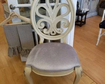 Four dining chairs upholstered grey silver velvet