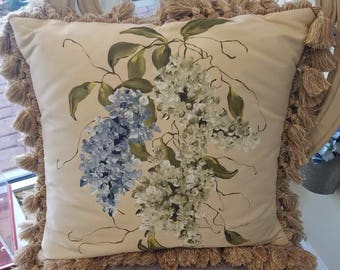 Hand-painted hydrangeas on Raw Silk oversized pillow
