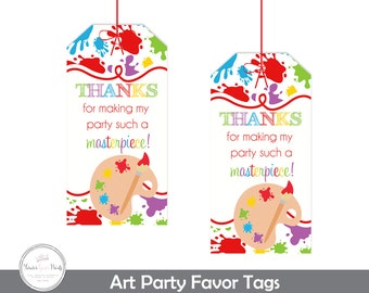 Art Party Favor Tags, Art Party Thank You Tags, Art Party Gift Tags, Printable Art Party Favors, Art Birthday Party, Painting Party Favors