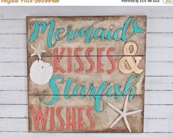 SPRING SALE Mermaid Kisses Starfish Wishes ~Framed Mermaid Sign ~Turquoise ~Coral~Nautical~Beach House~Mermaid Wall Art