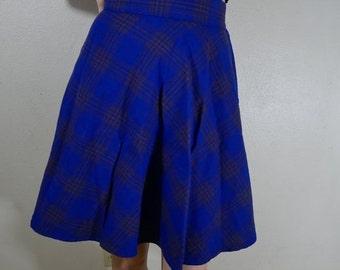 vtg70s blue plaid a line skirt size small