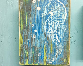 Original Painting Seascape ONE Seahorse Art Block Beach House Coastal Decor by CastawaysHall
