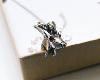 sterling silver flying pig charm and miracles happen tag