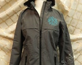 HOLIDAY SALE Monogram Rain Coat Jacket Slicker for Ladies Zip Up with Hood Plus Size available