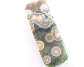 Ocean Jasper  Pendant. Natural. Floating Orbs, Mystery Clouds, and Monster Eyes. Can Be Drilled.  1 pc. 35.58 cts. 36x14x10 mm (OJ195)