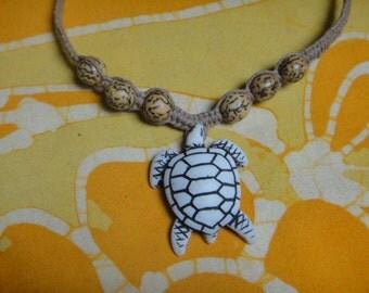 Yin Yang Sea Turtle Betel Nut Bead Hemp Necklace Mens Jewelry Gift for Him Tribal