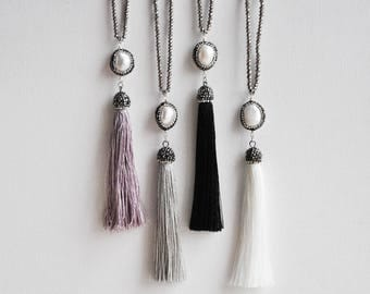 Tassel Necklace, Festival Necklace, Bohemian Style, Pearl Necklace, Crystal Necklace, Beaded Necklace, Long Necklace, Everyday Necklace,