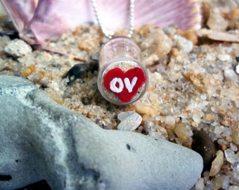 OV NECKLACE Tiny Message Bottle filled with Ocean View Sand,rocks,and shells