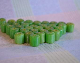 32 Jade Green Barrel Beads Rescued From Broken Vintage Necklace- Enough for Choker Length Necklace or Bracelet