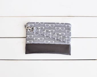 BASICS COLLECTION Grey Optomery Clutch - Glasses Wristlet - Wallet Wristlet - Glasses - Geek Chic