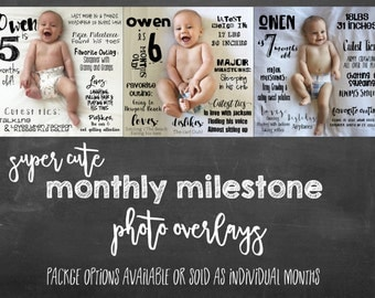 Super Cute Doodle Monthly Baby Milestone Designs *great gift idea for new moms to show off their new little! - DESIGN FILES ONLY
