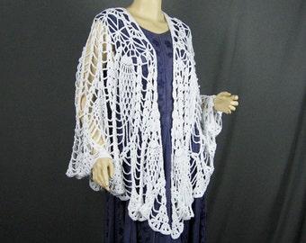 Crocheted Lacy Shawl, Pineapple Design, Cotton Yarn, Handmade, Original Design, Pristine White, Circular Shawl, Lacy Wrap, Sophisticated