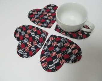 Set Of 4 Fabric Coasters/Heart Shape/Flag