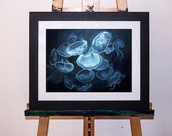 Acrylic Painting Moon Jellyfish Underwater Art Print