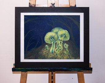 Acrylic Painting Glowing Mushrooms on Tree Art Print