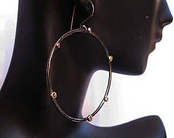 Large Hoop Earrings Rose Gold Pebble Black Hoops Modern Chic Designer Gold Hoop Earring Boho Earring Silver Hoop Earring 3 Inch Hoop Earring