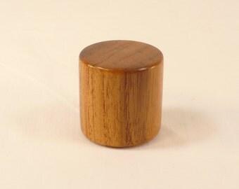 "Lamp Finial Teak Wood Brass Drum Pattern 9, 1.5"" Tall x 1.5"" dia Mid Century Modern"