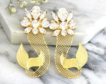 Statement Earrings, Nautical Wedding, Mermaid Earrings, Swarovski Statement Earrings, Crystal Clear Long Earrings, Trending Jewelry