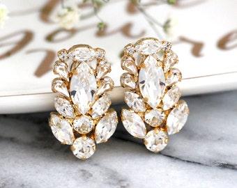 Bridal Crystal Earrings, Clear Crystal Cluster Earrings, Art Nouveau Earrings, Swarovski Crystal Cluster Earrings, Bridal Crystal Studs