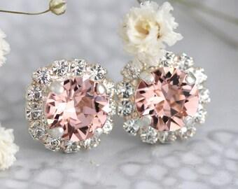 Blush Studs, Silver Blush Studs, Swarovski Blush Earrings, Bridesmaids Blush Earrings,Silver Stud Earrings, Bridal Earrings, Blush Earrings