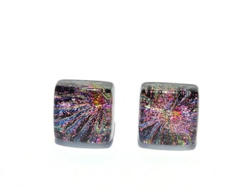 """Small Dichroic Glass Stud Earrings, Fused Glass Jewelry, Sterling Silver, Square - Color Burst, Multi-color,  3/8"""" or 10mm (Item #30949-E)"""